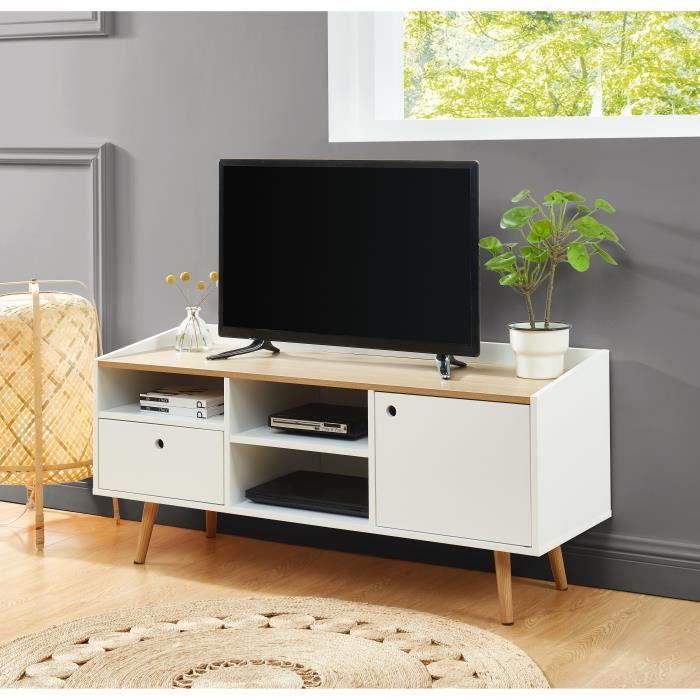 CALDERA Meuble TV, laqué blanc mat et plateau coloris bois