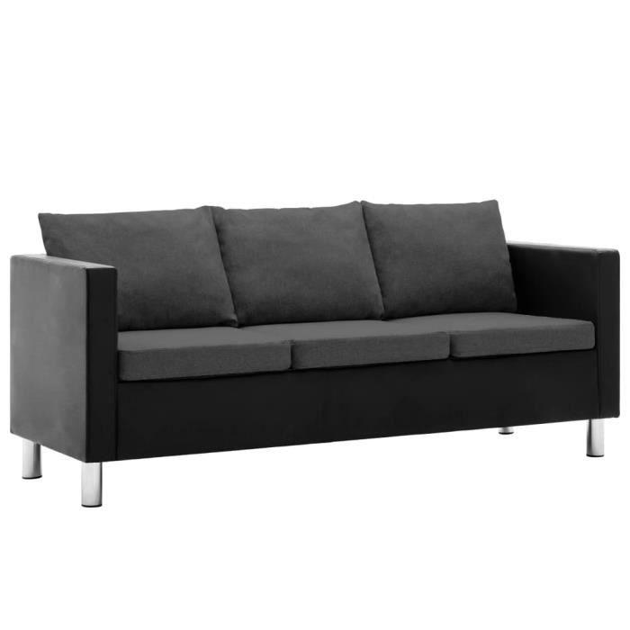 57988Vintage Canapé droit fixe 3 places - Canapé à 3 places Simili-cuir Noir et gris foncé Canapé de salon - Moderne