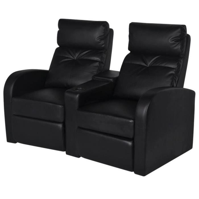 Moderne - Fauteuil Relaxation inclinable à 2 places - Fauteuil Relax Confortable Fauteuil Chaises de Salon Cuir synthétique - Noir