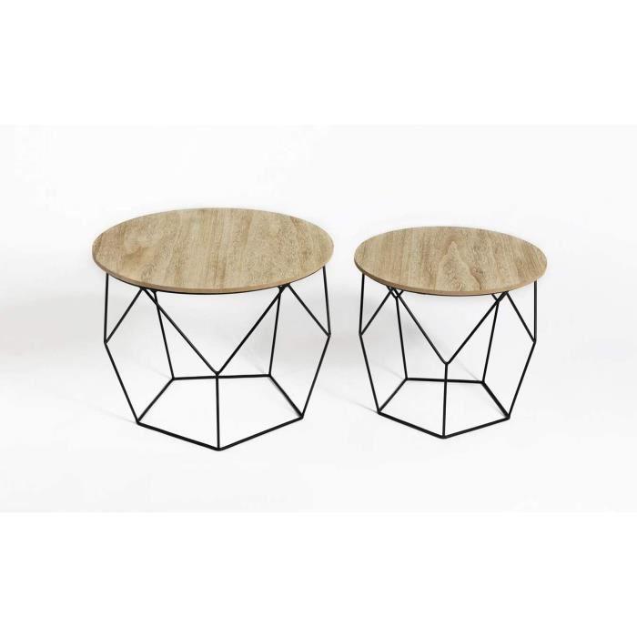 Table Gigogne Bois et Metal Ronde, Table Basse Design Bois en Lot de 2, Petite Table Basse Gigogne Scandinave, Tables d'Appoint[5]