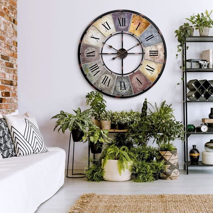 Horloge murale geante XXL Grande vintage en métal style shabby chic avec chiffres romains Ø 80 cm horloge en bois murales indus A262