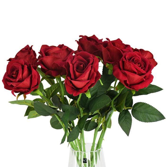 10 pièces 8cm tête de haute qualité artificielle Rose fleur Bouquet décoratif vraie touche florale mariage décoration - F08