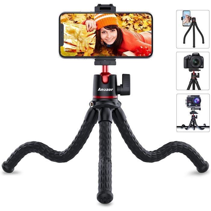Anozer Trépied Mobile Flexible, Support de téléphone, Gopro, Appareil Photo, vis Universelle 1/4 Pouce, tête rotative à 360 °, Forme