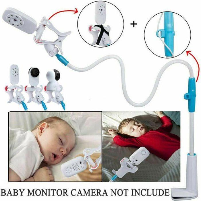 Nouveau Bébé moniteur titulaire, Support universel pour moniteur pour bébé à 360 ° Babyphone Caméra Vidéo Bébé Surveillance - Bleu