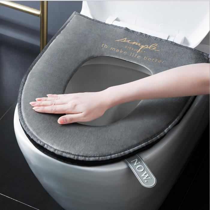 Housse toilette de siège Matelassée de Luxe Super Confortable Anneau de retenue renforcé Coupe universelle Lavable en machine