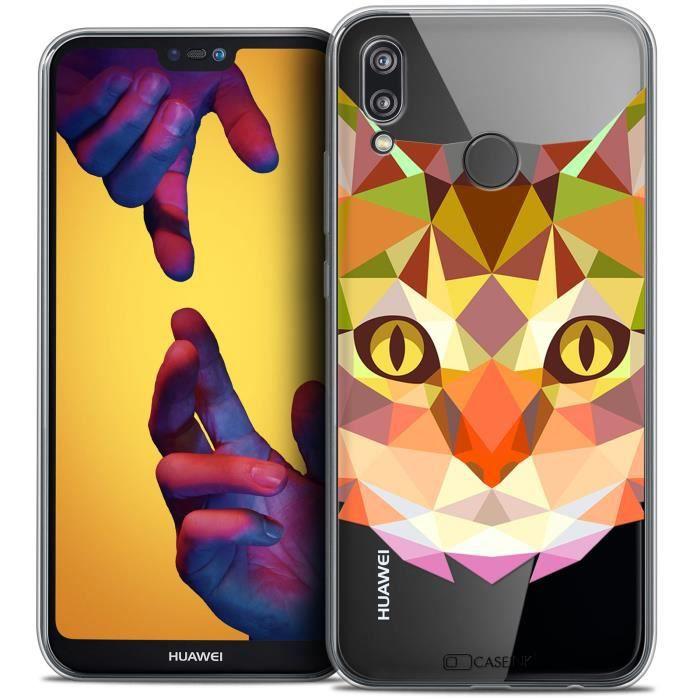 Coque Gel Huawei P20 LITE (5.84 ) Extra Fine Polygon Animals - Chat