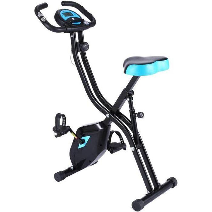 ANCHEER Vélo d'appartement Pliable Vélo Fitness à 10 niveaux de résistance magnétique avec moniteur LCD + Siège + Support de Tablett