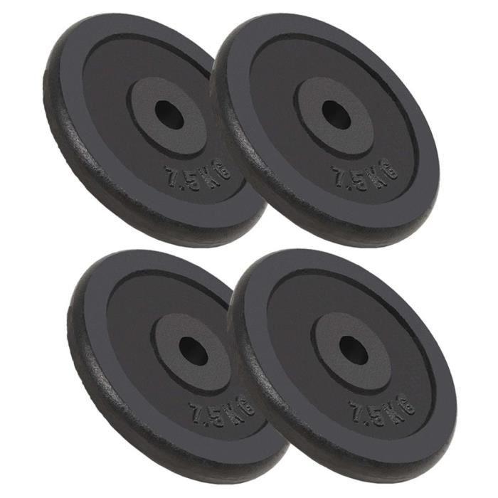 Festnight 4 pcs Plaque de Poids Disques Haltères en Fonte 30 kg pour Musculation