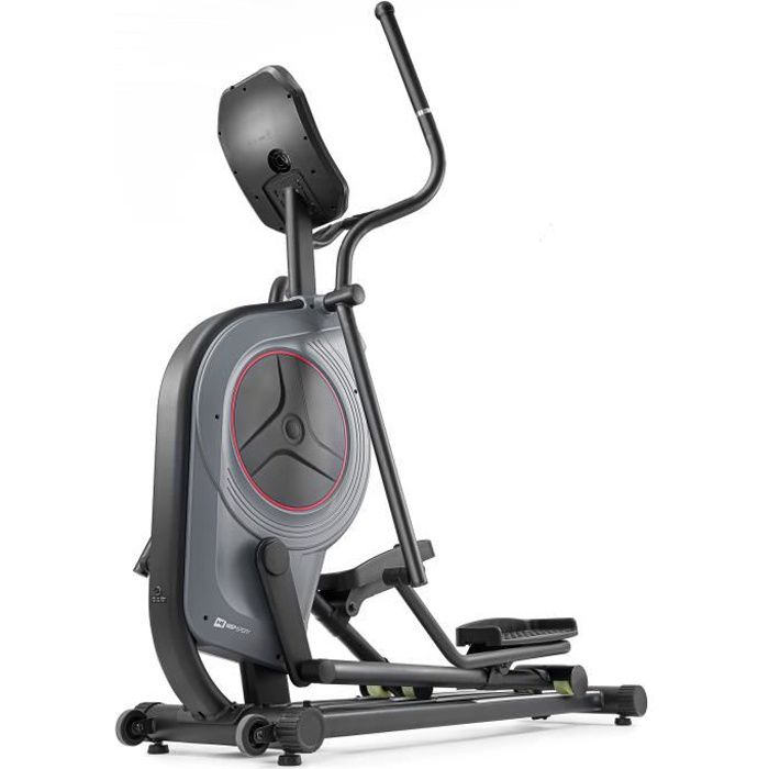 HS HOP-SPORT Vélo elliptique HS-100C (Gris) - IConsole + - Mesure du pouls - Tapis de Protection - Roulettes de transport