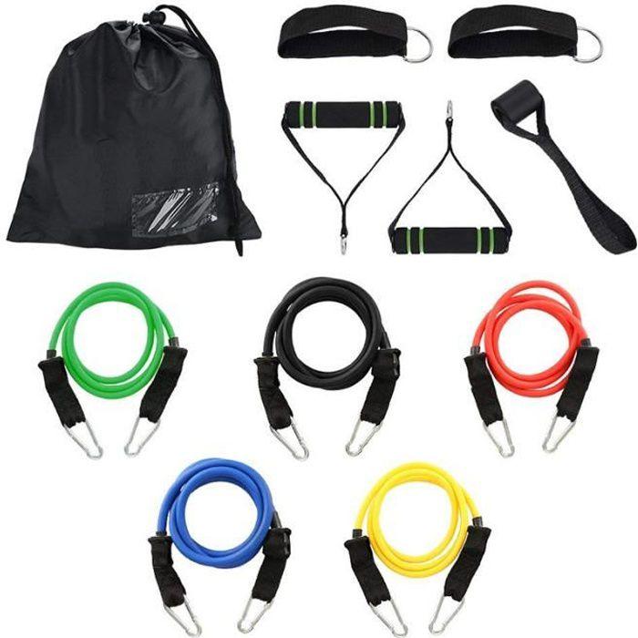 11pcs Bande de Résistance Set, Bandes de Fitness Elastiques Kit avec Crochet de Porte et Sangle de Cheville pour Pieds et étui de Tr
