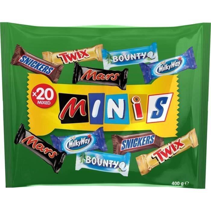 MARS Minis Mix Chocolats au lait fourrés de confiserie et de caramel avec des cacahuètes - 400 g