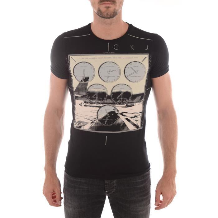 T-shirt Calvin Klein Manches Courtes noir pour hommes. CMP37S.