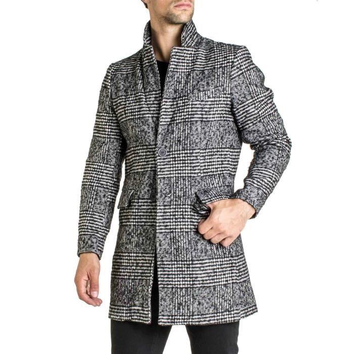 Manteau trench laine à carreaux tendance pour homme