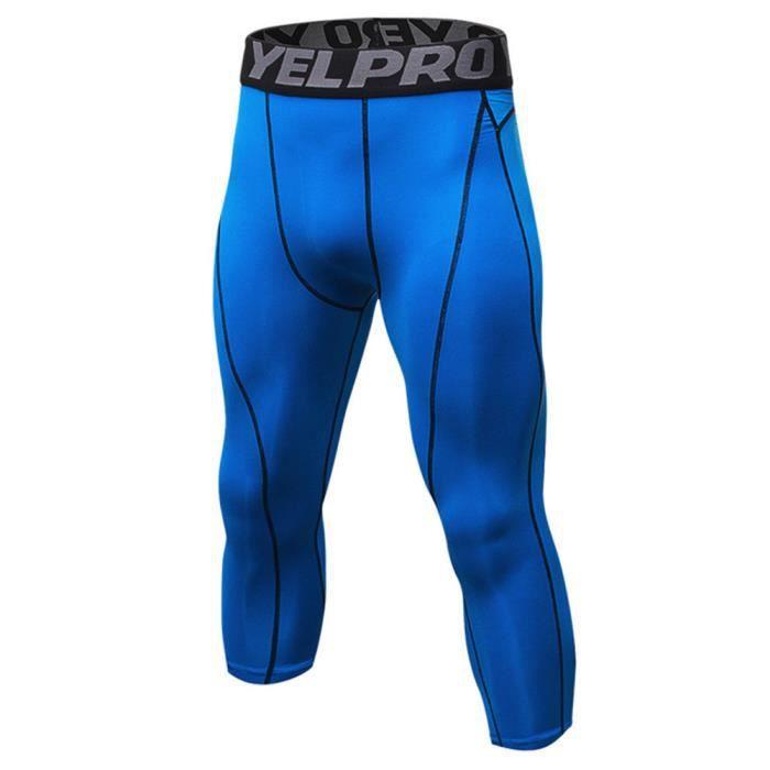 Homme Collant Running Fitness Pantalon de Compression 3-4 Capri Legging Sport Collants Baselayers Bleu S