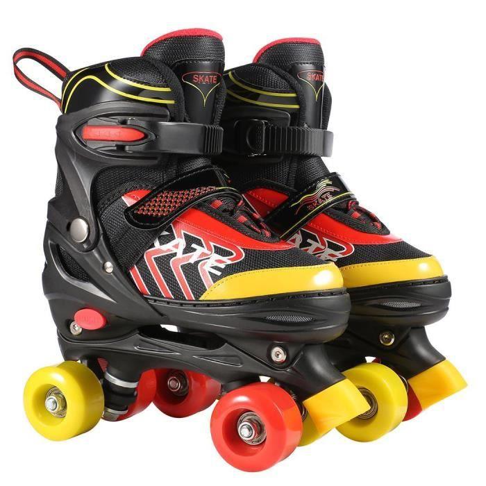 Rollers Quad Patin à roulettes pour Enfant Ajustable Respirant Confortable pour Patinage Filles et Garçons S(31 ~ 34)/M(35 ~ 38) Ros