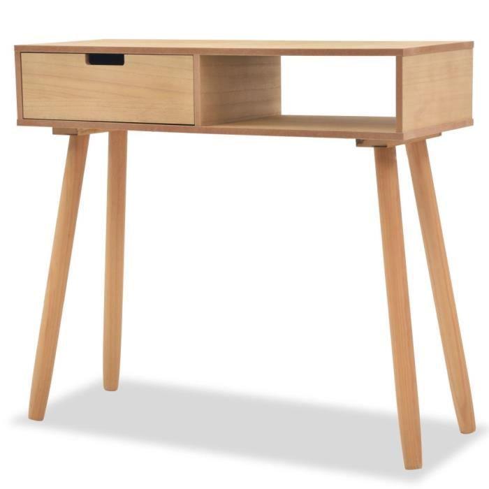 Table console Bois de pin massif 80 x 30 x 72 cm Marron Table console extensible Table de Salle à Manger Console style contemporain