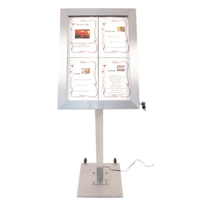 Porte-menu LED format 4 x A4 en Inox brossé avec pied (roulettes intégrées) 6,5 Acier Inoxydable