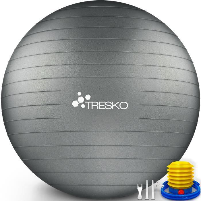 TRESKO Ballon Fitness Yoga Balle d'Exercice Antidérapant Balle Gymnastique avec Pompe 300 kg - avec pompe à air - Gris - 75cm