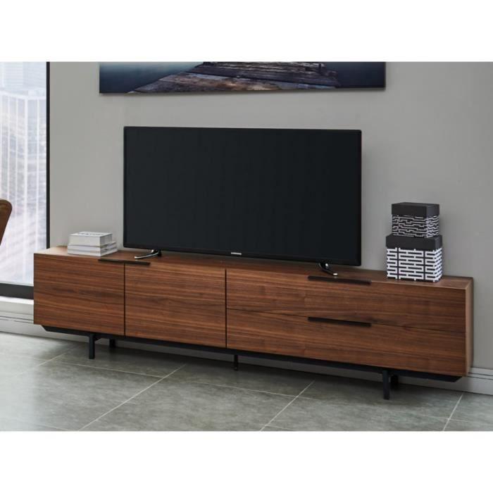 Meuble TV TAYRON - 2 portes & 2 tiroirs - MDF & Pieds métal - Coloris Noyer