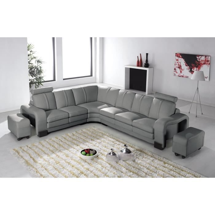 canap d 39 angle en cuir gris avec appuie t te relax havane angle gauche achat vente canap. Black Bedroom Furniture Sets. Home Design Ideas