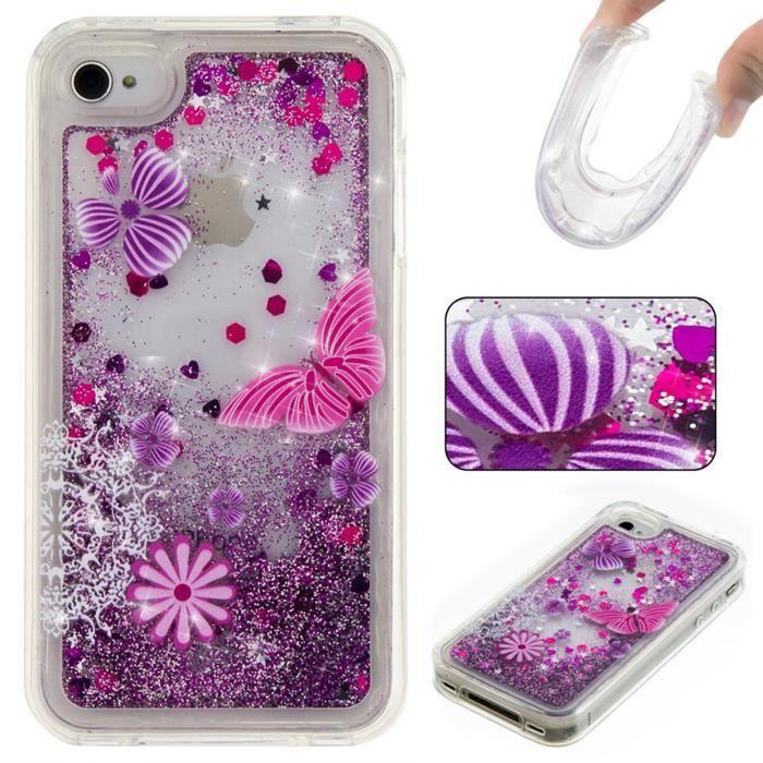 coque iphone 4 4s transparent et liquide papillon