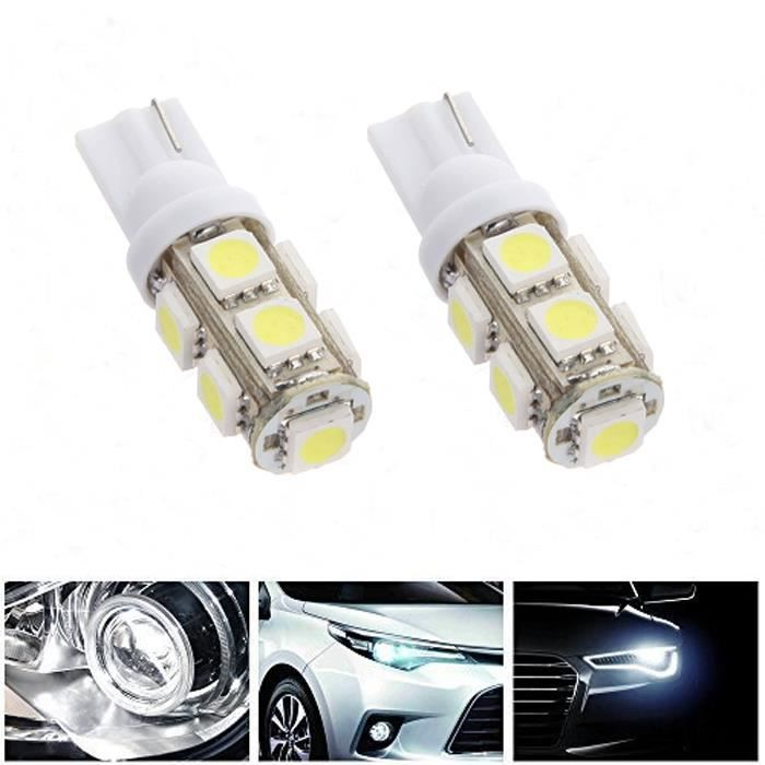 2x t10 9smd 5050 voiture led lampe veilleuse lumi re ampoule blanc w5w achat vente phares. Black Bedroom Furniture Sets. Home Design Ideas
