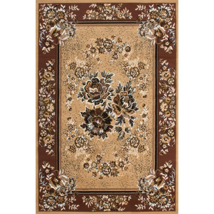tapis design oriental coloris beige et marron achat. Black Bedroom Furniture Sets. Home Design Ideas