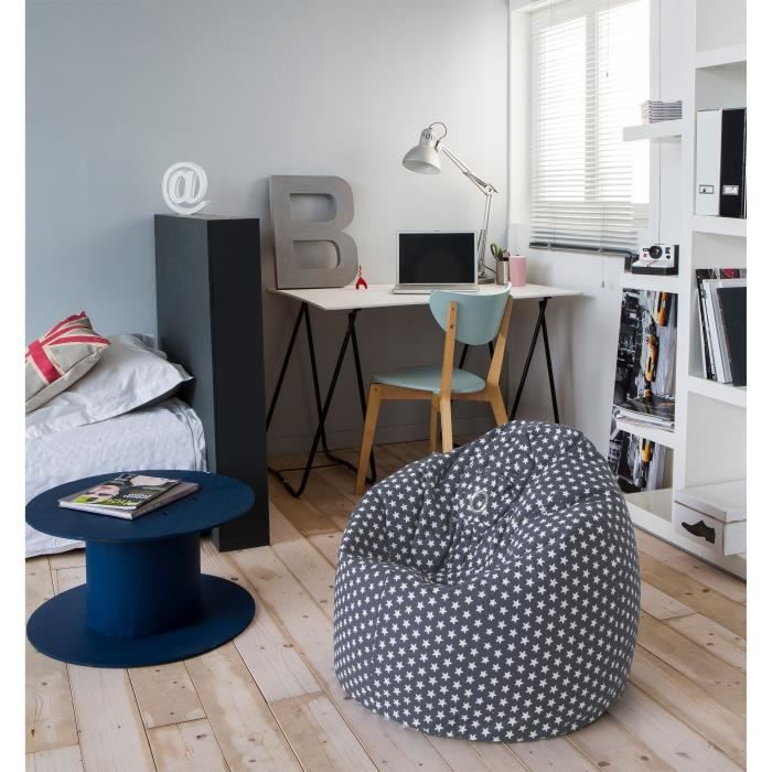 poire pouf hanko 100 coton 79x100 cm gris toile achat vente pouf poire 100 coton. Black Bedroom Furniture Sets. Home Design Ideas