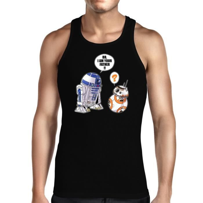 T-SHIRT MAILLOT DE SPORT Débardeur Noir Star Wars parodique R2-D2 et BB-8 :