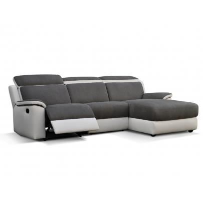 canap d 39 angle relax souffle gris et blanc ang achat vente canap sofa divan cdiscount. Black Bedroom Furniture Sets. Home Design Ideas