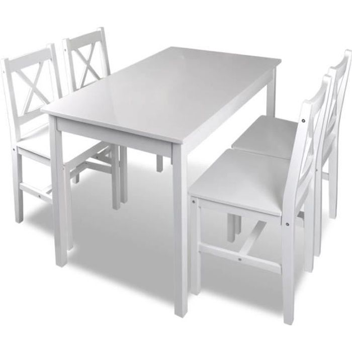 table et chaises de cuisine bois blanc achat vente. Black Bedroom Furniture Sets. Home Design Ideas