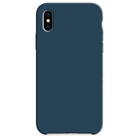 Coque Silicone Gomme intérieur façon velours iPhone X/XS - Bleu Cosmos