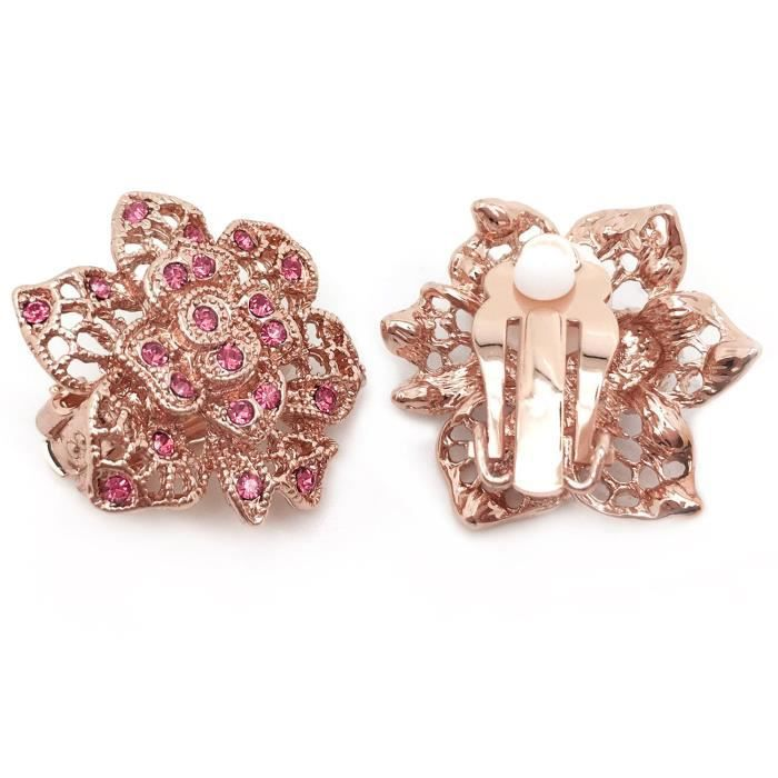 Womens Clip On Earrings Flower Pink Crystal Filigree Rose Gold Plated HZ29I