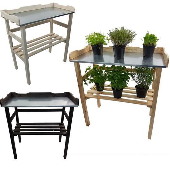 Pflanztisch en bois avec travail plaque en métal 3 niveaux Orange Jardinier Table