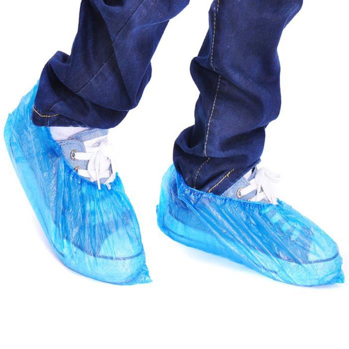 200 jetables plastique bleu anti dérapante chaussures couvre nettoyage overshoes de protection