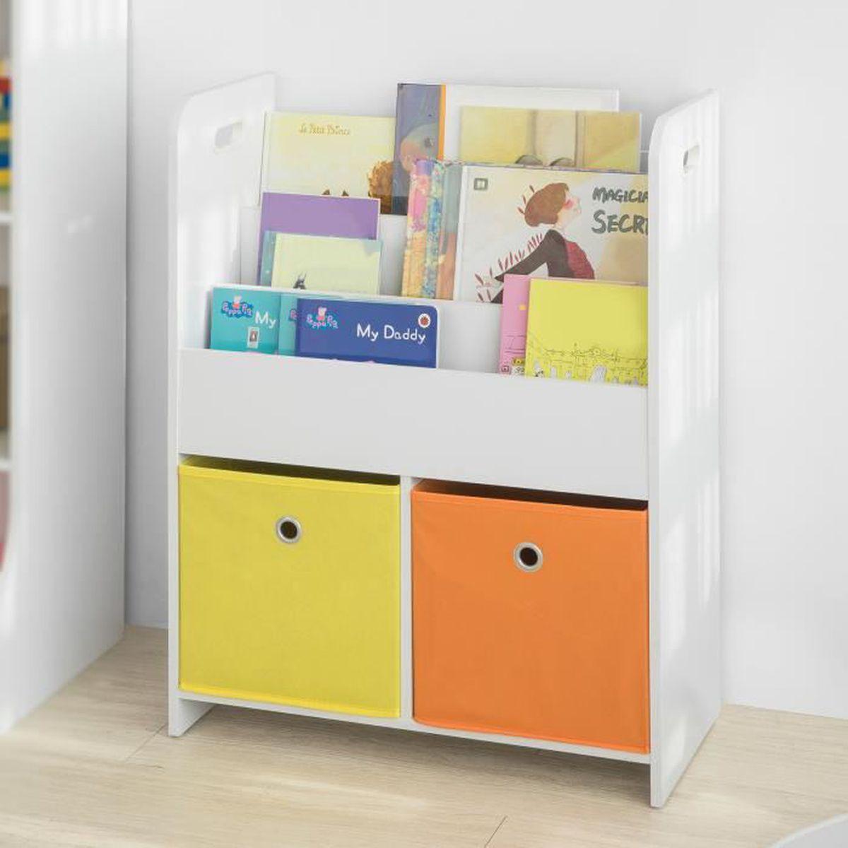 Meuble De Rangement Pour Garderie sobuy® kmb27-w bibliothèque meuble de rangement pour livres
