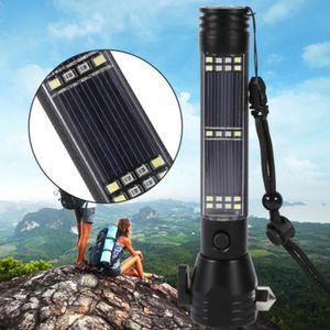 LAMPE DE POCHE Sécurité à l'extérieur Marteau énergie solaire lam