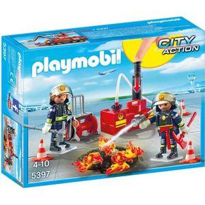 FIGURINE - PERSONNAGE PLAYMOBIL 5397 - City Action - Pompiers avec Matér