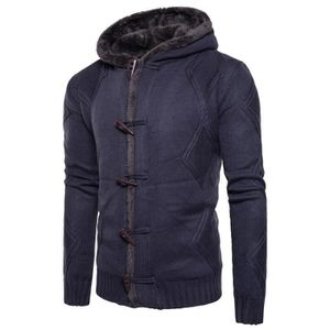 471cee368a60ea GILET - CARDIGAN Hommes Automne Hiver solide Sweat à capuche Cardig