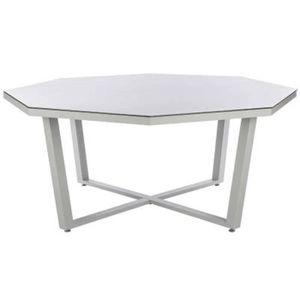 Table octogonale en Aluminium et verre trempé coloris galet ...
