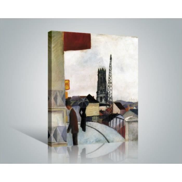 august macke poster reproduction sur toile tendue sur ch ssis cath drale de fribourg en. Black Bedroom Furniture Sets. Home Design Ideas