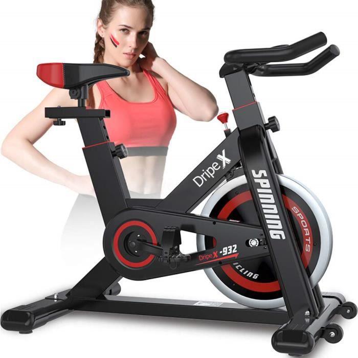 Dripex Vélo d'Appartement Cardio Vélo biking Spinning Abdominal Dos Bras Anti-Résistance Pouls à la Main+Capteur Cardiaque+LCD écran