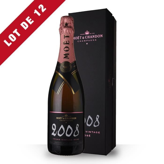 12X Moët et Chandon Grand Vintage 2008 Brut Rosé 75cl - Coffret - Champagne