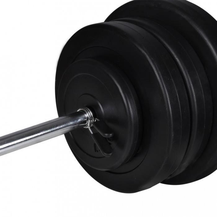 Barres pour barres a disque Kit de barre d'haltere et 2 halteres 60,5kg