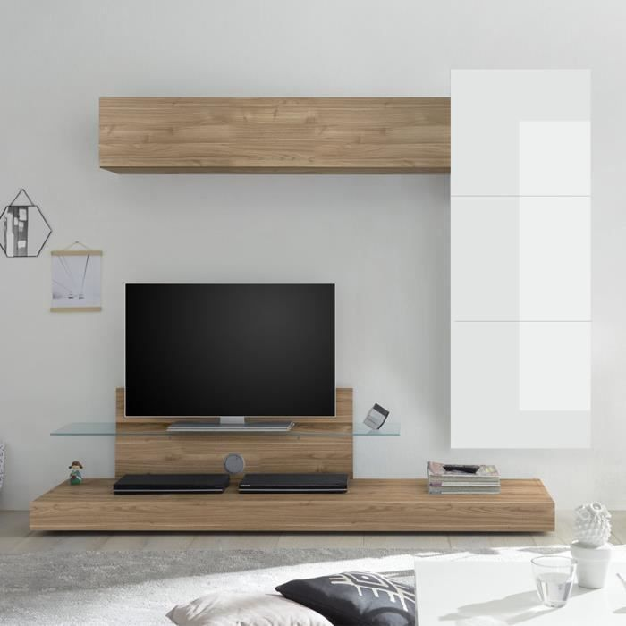 Meuble mural TV blanc laqué et couleur chêne CERANO Marron L230 x P 190 x H 50 cm