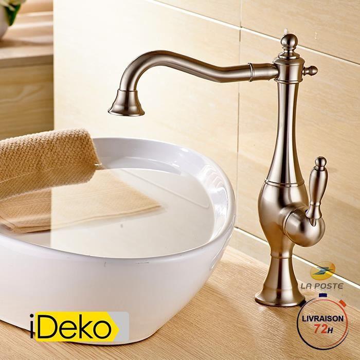 iDeko® Robinet cuisine robinet salle de bain rétro – style nickel brossé