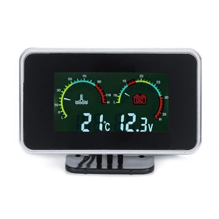 12V-24V 2in1 LCD M10 Tachymètre Manomètre Thermomètre Pression Jauge voiture numérique Digital avec sonnerie M10