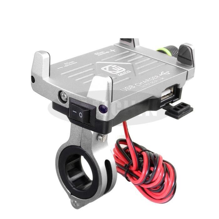 Support de téléphone pour moto avec chargeur USB 12-24V support de téléphone portable en alliage d'aluminium - Type Silver A
