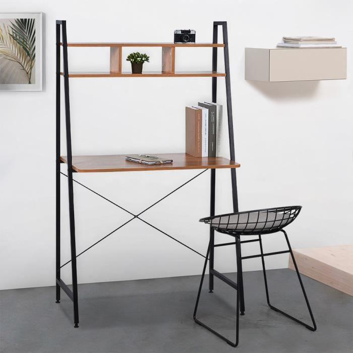 copy of Bureau industriel 120x60 bois acier avec étagère et étagères design minimaliste EMPIRE