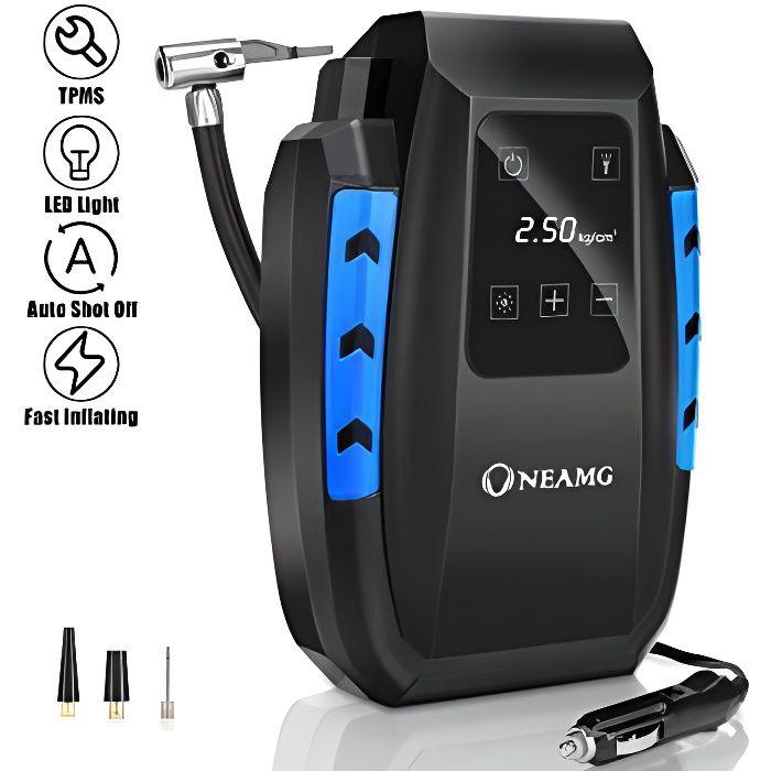OneAmg Compresseur d'Air Portatif 12V, Compresseur Voiture d'air Digital Portable 12V 120W Auto Gonfleur Pneus, Electrique